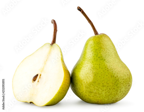 Foto Green pear and half close - up on a white. Isolated.