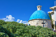 Small Chapel Surrounded By A Beautiful Green Bush. Sunny Day With Blue Sky And White Clouds. Cozumel Southern Tip