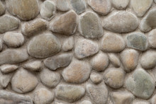 Brown Stone Wall Of Pebbles, Background, Texture
