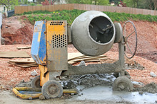 Cement Mixer On A Road Construction Site