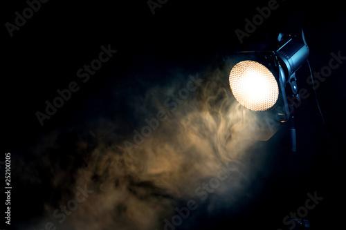 Printed kitchen splashbacks Theater Yellow light with smoke. Equipment for photo Studio.
