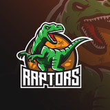 Fototapeta Dinusie - raptor vector mascot logo design with modern illustration concept style for badge, emblem and tshirt printing. angry dinosaur illustration for sport and esport team.