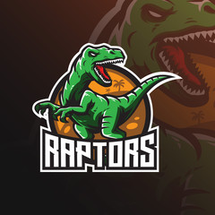 raptor vector mascot logo design with modern illustration concept style for badge, emblem and tshirt printing. angry dinosaur illustration for sport and esport team.