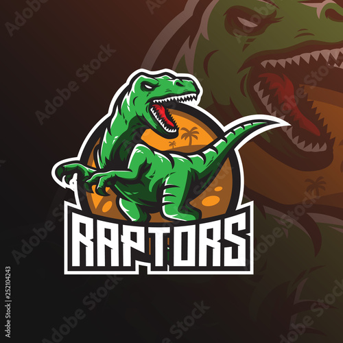Photo  raptor vector mascot logo design with modern illustration concept style for badge, emblem and tshirt printing