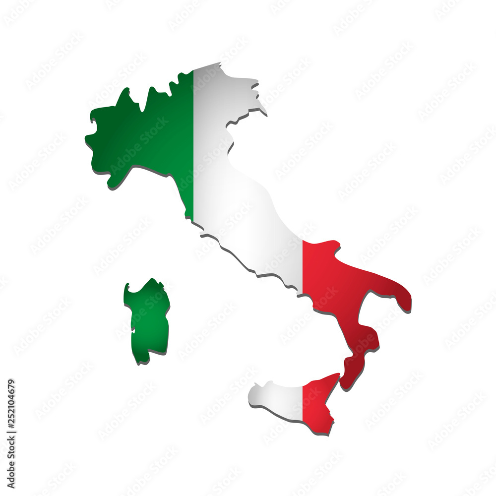 Fototapeta Vector isolated simplified illustration icon with silhouette of Italy map. National Italian flag (green, white, red colors). White background