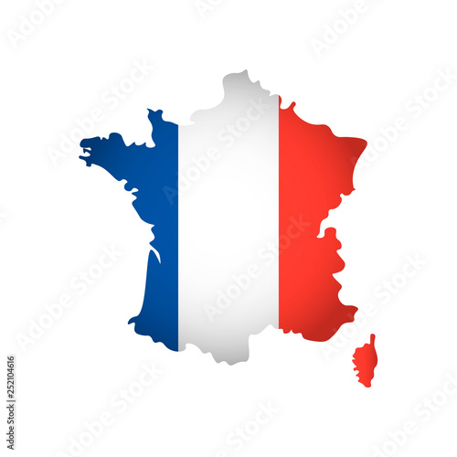 Obraz Vector isolated simplified illustration icon with silhouette of France map. National French flag (blue, white, red colors). White background - fototapety do salonu
