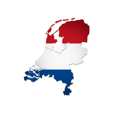 Vector Isolated Simplified Illustration Icon With Silhouette Of Netherlands Map. National Dutch (holland) Flag (red, White Colors). White Background
