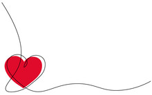 Heart Background One Line Draw...