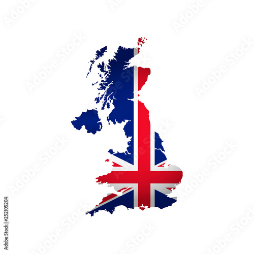 Canvas Print Vector isolated illustration icon with silhouette of United Kingdom of Great Britain and Ireland map