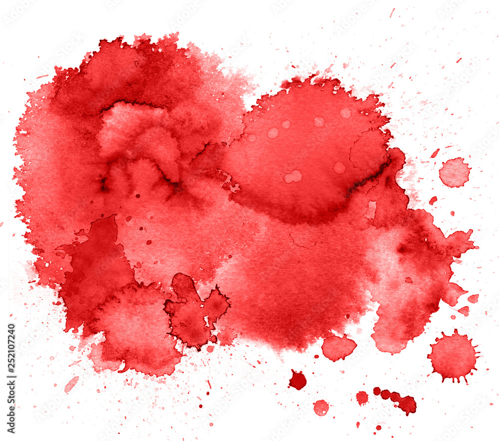 Fototapety, obrazy: Colorful abstract watercolor texture stain with splashes and spatters.