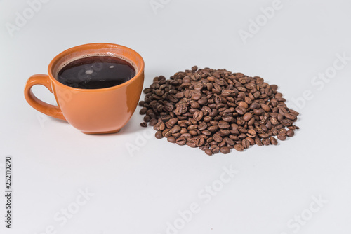 Recess Fitting Coffee bar coffee beans and a cup of coffee on a white background