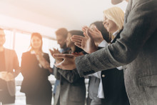 Multiracial Group Of Business People Clapping Hands To Congratulate Their Boss - Business Company Team, Standing Ovation After A Successful Meeting