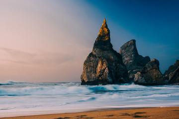 Fototapeta Wschód / zachód słońca Zachód słońca nad plażą długa ekspozycja