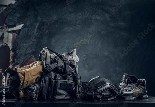 Military uniform and equipment Fototapeta