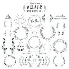 Collection Of Hand Drawn Laure...