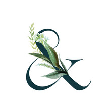 Green Floral Alphabet - Ampersand & With Botanic Branch Bouquet Composition. Unique Collection For Wedding Invites Decoration & Other Concept Ideas.