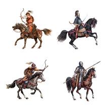Medieval Mounted Knights. Heav...