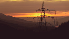 Power Pylons During The Sunset...