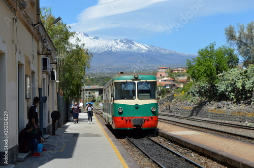 Old tram with Etna in the background, Paterno, Sicily, Italy
