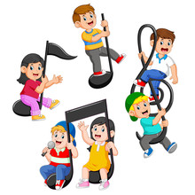 Set Collection Of Happy Children Riding Music Notes
