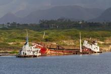 Partially Sunk Shipwreck Near ...