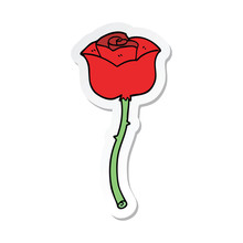Sticker Of A Cartoon Rose