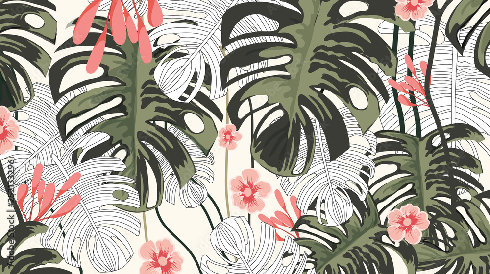 Tropical plants and pink flower background pattern-vector
