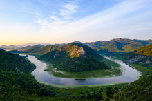 Montenegro, Loop Of River Crnojevic At Sunrise Seen From Pavlova Strana Lookout