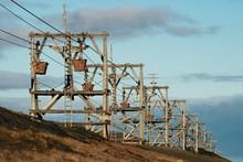 Historic Coal Cable Car, Landmark, Former Coal Mine, Longyearbyen, Spitsbergen, Svalbard, Norway, Europe