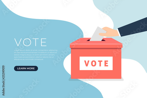 Fototapeta  Businessman hand putting voting paper in the ballot box