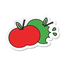 Sticker Of A Cute Cartoon Apples