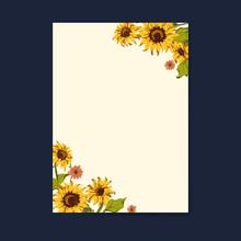 Blank Sunflower Card Template