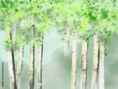 Montage in der Fensternische Olivgrun Colorful hand drawn bright spring trees as birch trees with green leaves on green blue background, isolated cartoon nature illustration painted by pastel, watercolor and pencil chalk, high quality