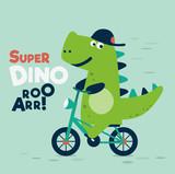 Fototapeta Dinusie - Cute dinosaur rides on bicycle