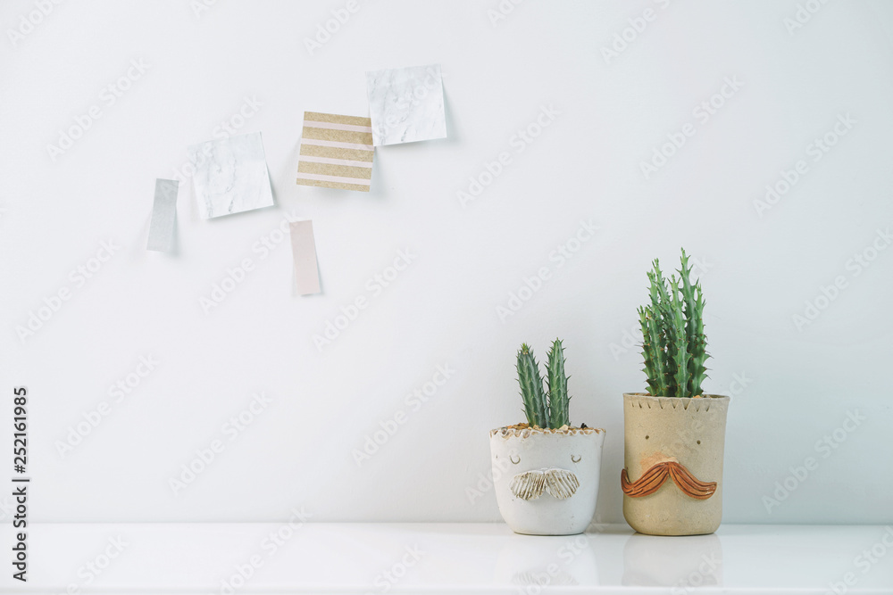 Succulents Or Cactus In Clay Pots Plants In Different Pots Potted Cactus House Plants With Sticky Note On White Wall Wall Mural Inueng