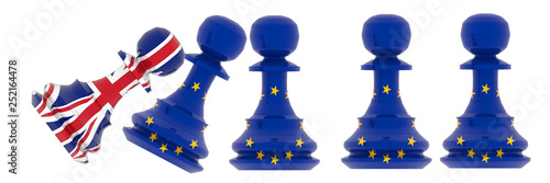 Obraz na plátně brexit europe european union pawn chess - 3d rendering