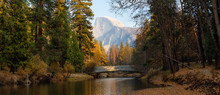 Beautiful American Landscape In Yosemite National Park, California, United States.