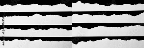Fototapety, obrazy: white torn paper on black background. collection paper rip. Set of paper different shapes scraps isolated on black background