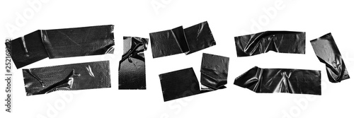 Obraz Set of black tapes on white background. Torn horizontal and different size black sticky tape, adhesive pieces. - fototapety do salonu