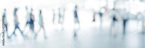 Obraz white blurred of people walking in city town. Defocused blur background. - fototapety do salonu
