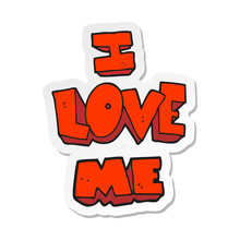 Sticker Of A I Love Me Cartoon...