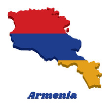 3D Map Outline And Flag Of Armenia, A Horizontal Tricolor Of Red, Blue, And Orange.