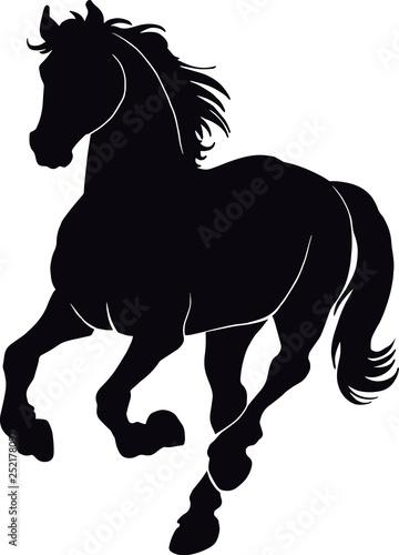 Foto Black silhouette of horse. - Vector