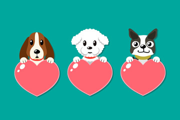 Cartoon dogs with heart sig...