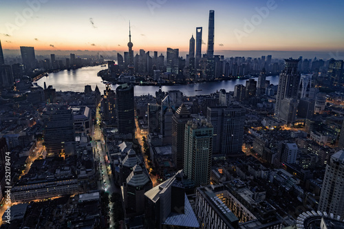 Recess Fitting New York aerial view of East Nanjing Road, Shanghai, China. In dawn