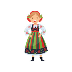 Cheerful girl in traditional Polish folk dress. National costume. Cartoon female character. Flat vector design