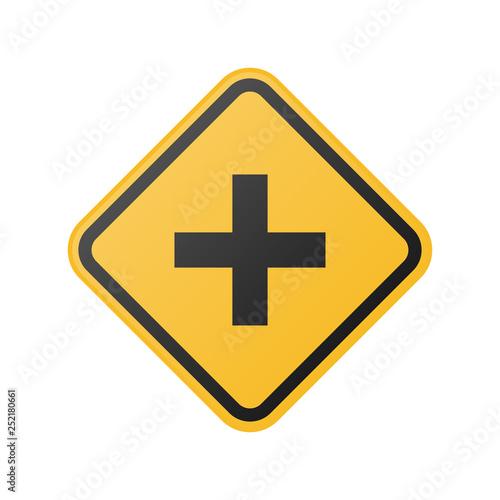 Fotografía  glossy cross road sign