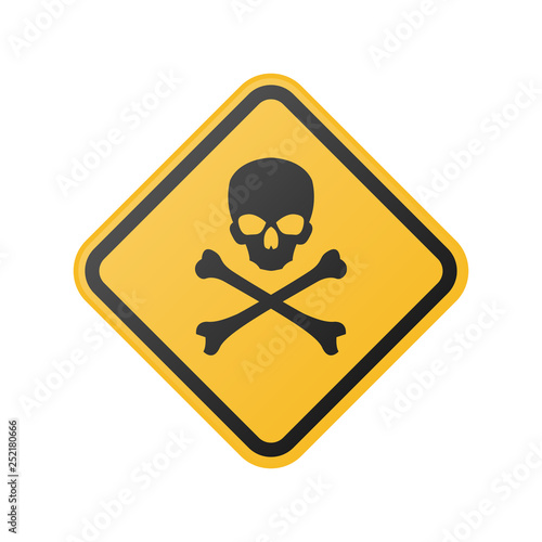 Photo  warning sign with skull and crossbones