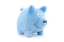 Stuffed Blue Piggy Doll Isolated On White Background.
