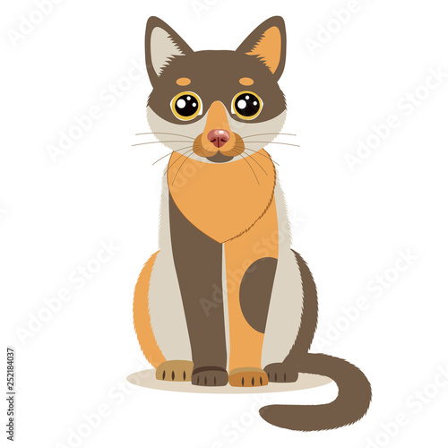 Cute Color Cartoon Cat Sitting In Front Isolated On White Background Sitting Cute Cat Flat Vector Illustration Funny Character Mascot Buy This Stock Vector And Explore Similar Vectors At Adobe Stock